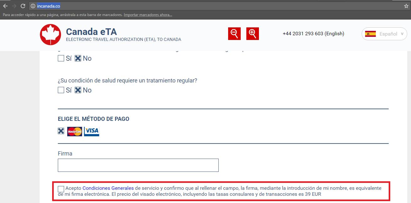 web incanada.co te cobra 39€, no tratimitar el eTA en esta web -Los viajes de Margalliver